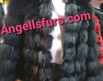 New,Natural, Real Modern model Short HOODED BLACK FOX Fur jacket!