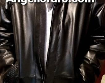 Men'S New Real Natural Black Lamb LEATHER Coat with MINK Fur INTERIOR!