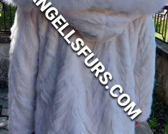 MEN'S WHITE MINK Fur Coat!Brand New Real Natural Genuine Fur!