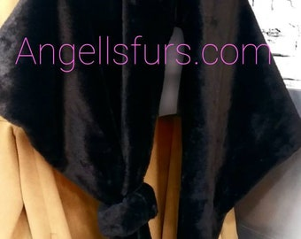 NEW!Natural Real Black Full pelts REX Fur Shawl-Etol-Scarf!