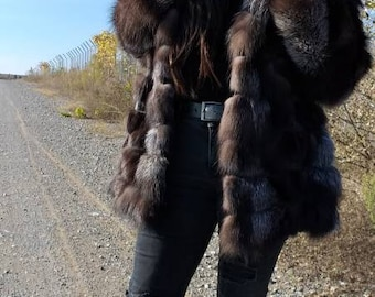 Brand New,Natural Real Dark SILVER FOX  Hooded Fur jacket!