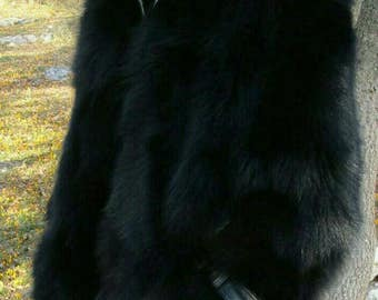 Men'S Real Natural FULL PELTS BLACK Fox Fur Hooded Coat!