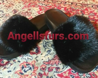 New Real Natural BLACK FULLSKIN MINK Fur Slides! Unisex!
