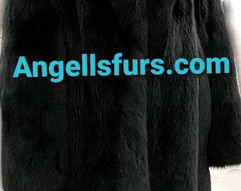Men'S New Real Natural Full Pelts BLACK FOX Fur Coat!
