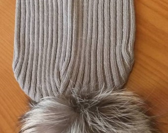 New!Modern Long gray color knitted Cap  with Real Silver Fox pompon on the top!