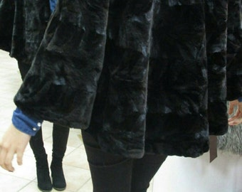 NEW!!! Fine Natural Real sheared MINK,ONE Size Fur Cape Jacket in A-line!!!