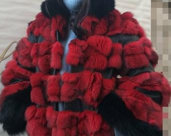RED!New,Natural, Real Modern model Fox Fur jacket!