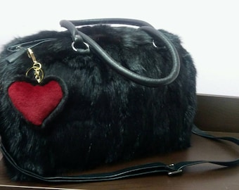 New!Natural,Real Black Rabbit Fur Bag