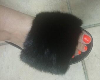 New Real Natural BLACK FULLSKIN MINK Fur Slides! Unisex!