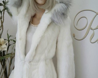 NEW!Natural Real White Rabbit Hooded Fur with Silver Fox Trim!