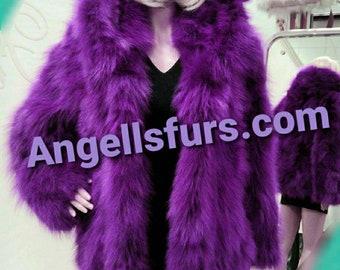 New Natural REAL HOODED FOX Fur jacket!