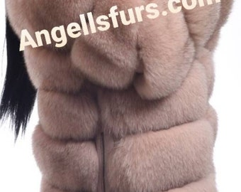 New Natural Real Full pelts Amazing color FOX Fur jacket with Detachable Sleeves!