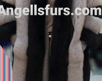 New,Natural, Real Modern Fullpelts FOX Fur Coat In ANY COLOR Combination you like!