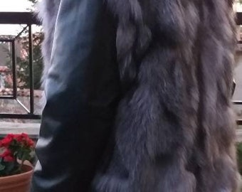 Men'S New!Real Natural SILVER FOX Hooded Fur VEST!