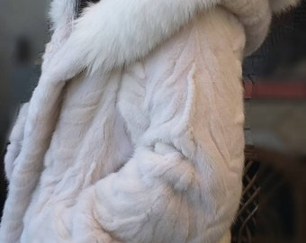 NEW Natural Real Beautiful HOODED MINK Fur with Fox!