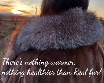 NEW Natural Real MINK Fur coat with Crystal Fox collar!