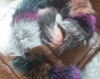New Natural Real Multicolor FOX Scarf! Color your life!