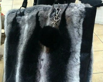 New!Natural,Real REX Fur CHINCHILLA color Shopper style Bag!