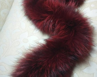 New Natural Real Burgundy color Fox FUR SCARF!