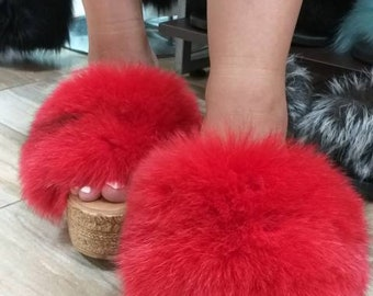 New Real Beautiful RED color FOX Fur PLATFORMS!