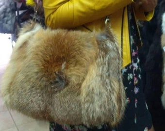 New!Natural,Real fullpelts RED FOX Fur Bag!