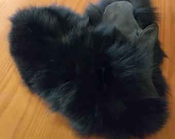New!Natural,Real Black FOX FUR GLOVES! Unisex