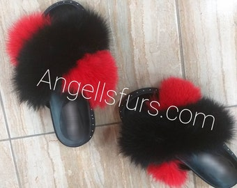 New Real BLack and Red FOX Fur SLIDES!
