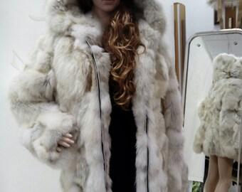 NEW!!!Natural REAL Fox Fur jacket!!!