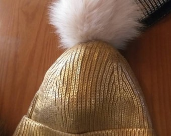 New!Modern Cap in GOLD metallic color with Real Any color Fox pom!