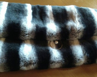 New!Natural,Real REX Fur in chinchilla color Envelope Bag!