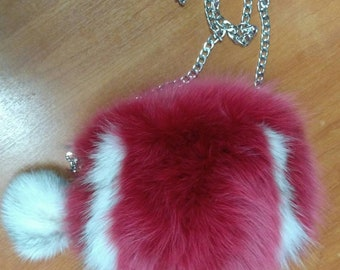 New!Natural,Real Fox FUR small BAG!!!