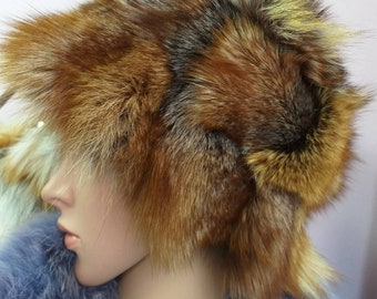 New!Natural,Real bright Crystal Fox Fur HAT!!!