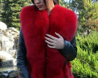 RED LOVE!New! Natural,Real Red Fullskin Fox Fur Vest!