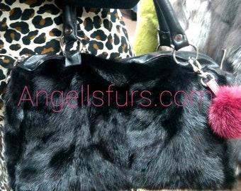 New!Natural Real BLACK MINK Bowling Fur Bag!