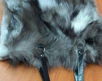 New!Natural,Real SILVER FOX Fur Shopper Bag!!!