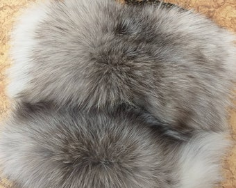 New!Real Natural,Real Silver Kross Fox Fur shoulder Bag!