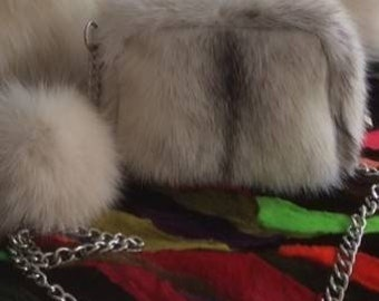 New!Natural,Real MINK Fur small BAG!