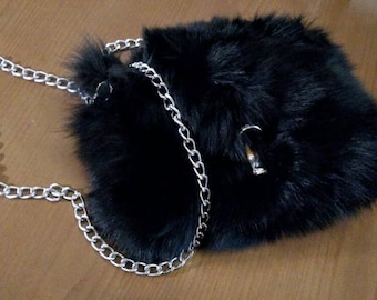 New!Natural,Real BLACK Fox FUR BAG