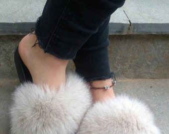 New Real Light Beige Real FOX Fur Slides!