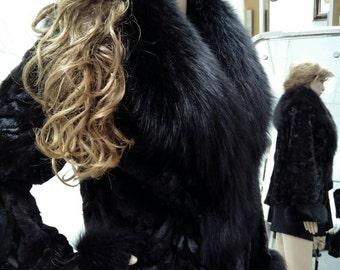 NEW!!!Natural Real Mink Fur jacket with black fullskin fox collar!!!