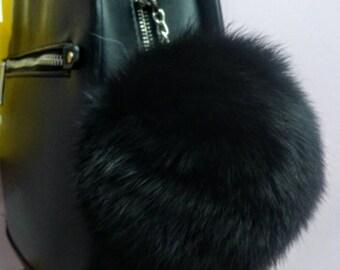 New! FOX POMPOM-keychain in Beautiful  Black!