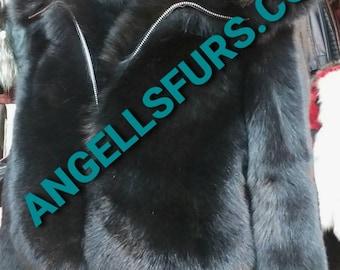 Men'S New!Real Natural HOODED Full pelts BLACK FOX Fur Bomber Jacket!