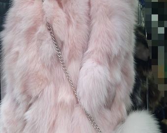 New!Natural Real PINK Fox Fur vest!!!