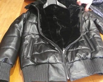 MEN'S New Real Natural Black Leather Bomber jacket with Rex Fur inside!Wear from both sides!