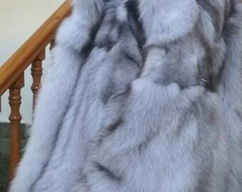 MEN'S New!Real Natural HOODED Blue Fox Fur Coat!