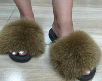 New Real Beautiful color FOX Fur SLIDES!
