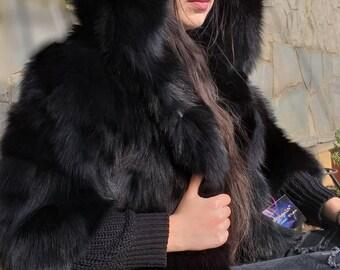 BLACK DREAM HOODED New,Natural,Real Fox Fur Bolero!