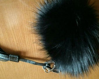 New!Natural,Real Black Fox Fur Wallet- Keychain!