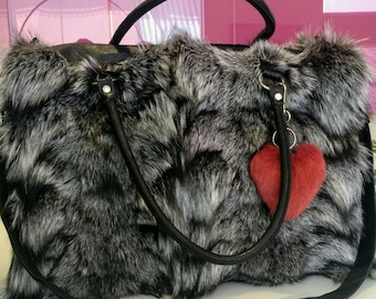 New!Natural,Real Big SILVER FOX Fur Bag!