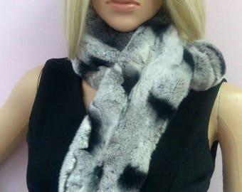 New!!!Natural Real REX scarf collar in Beautiful chinchilla color!